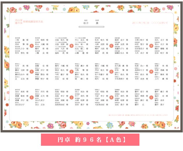 席次表の無料テンプレート 花柄素材